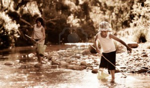 11598503-children-fishing-in-a-river-nostalgic-aged-sepia-tone